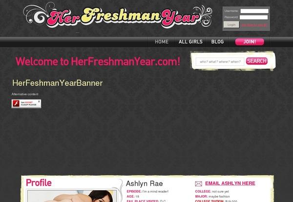Free Her Freshman Year User And Pass